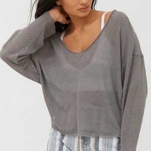 UO Out From Under Logan Jersey Slouchy V-Neck XS